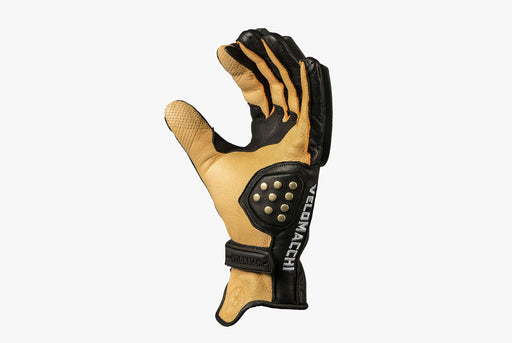 Black/Tan - Velomacchi Speedway Gloves - Palm side of glove