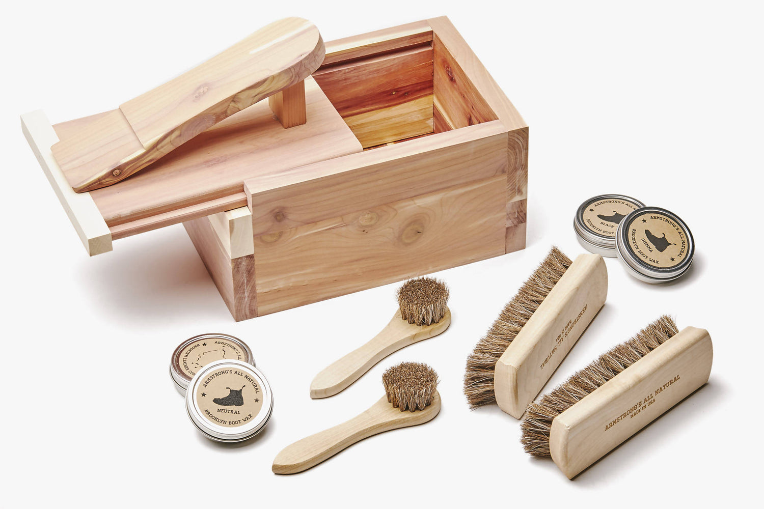 Unpacked Cedar Box with Contents Pictured - 2 Brushes, 2 Daubers, 4 Tins of Cream