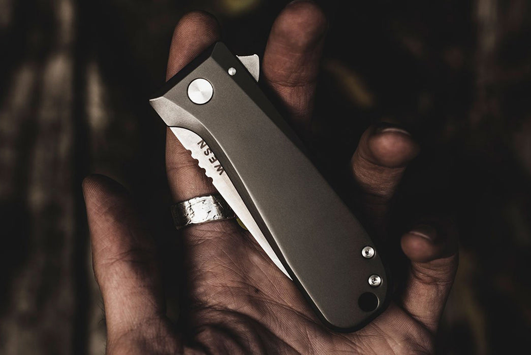 Titanium - WESN Allman Knife - Knife closed in persons hand