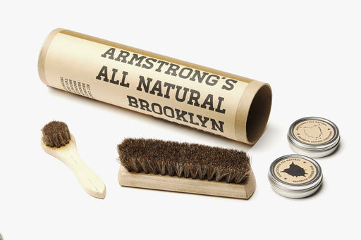Leather Care Kit - Unpacked Tube with Brush, dauber, and shoe polish pictured