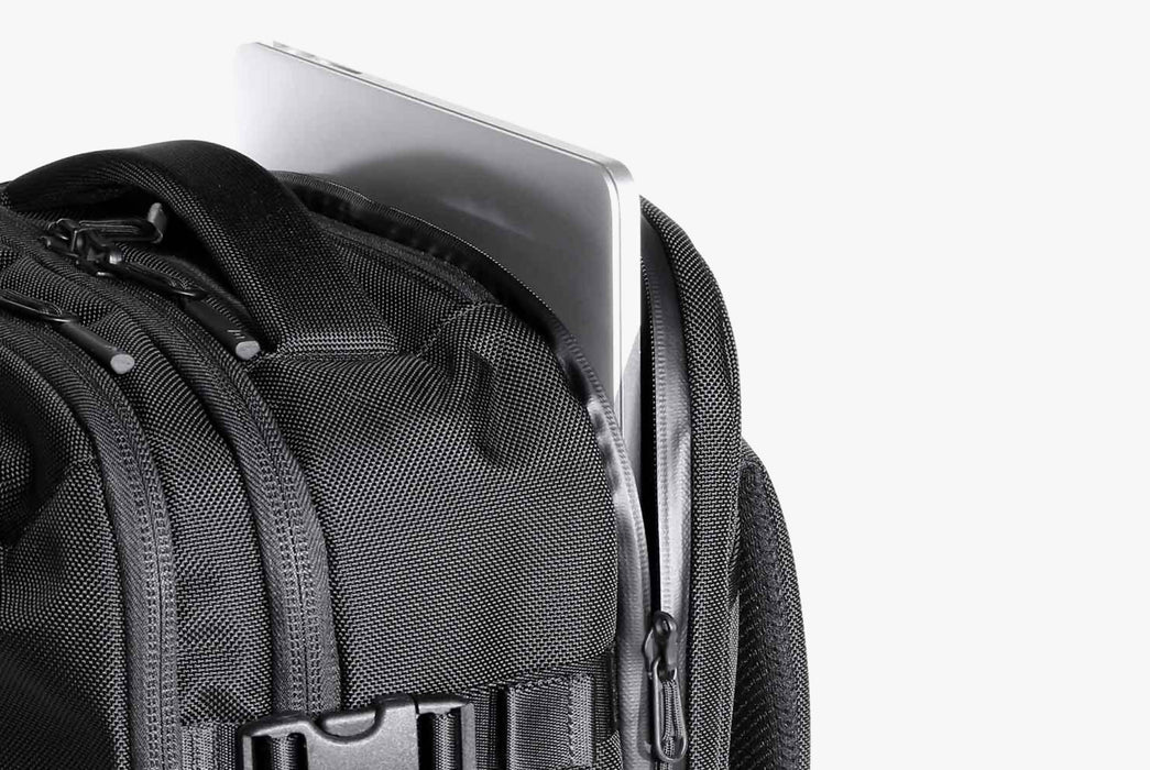 Black Travel Pack Laptop Compartment Close-up