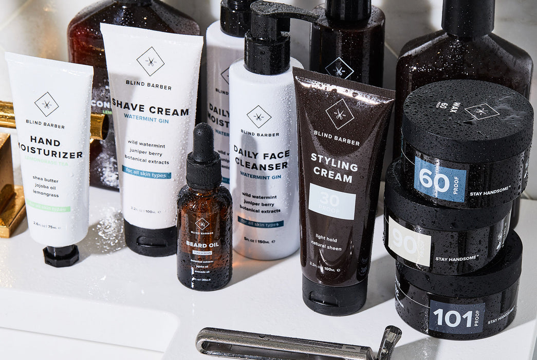 Beard Balm with various bath products