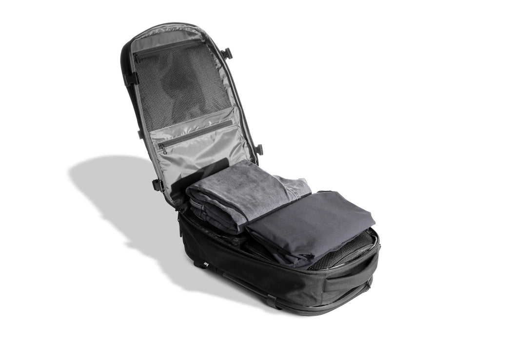 Black Travel Pack - Back-Loading Compartment Detail
