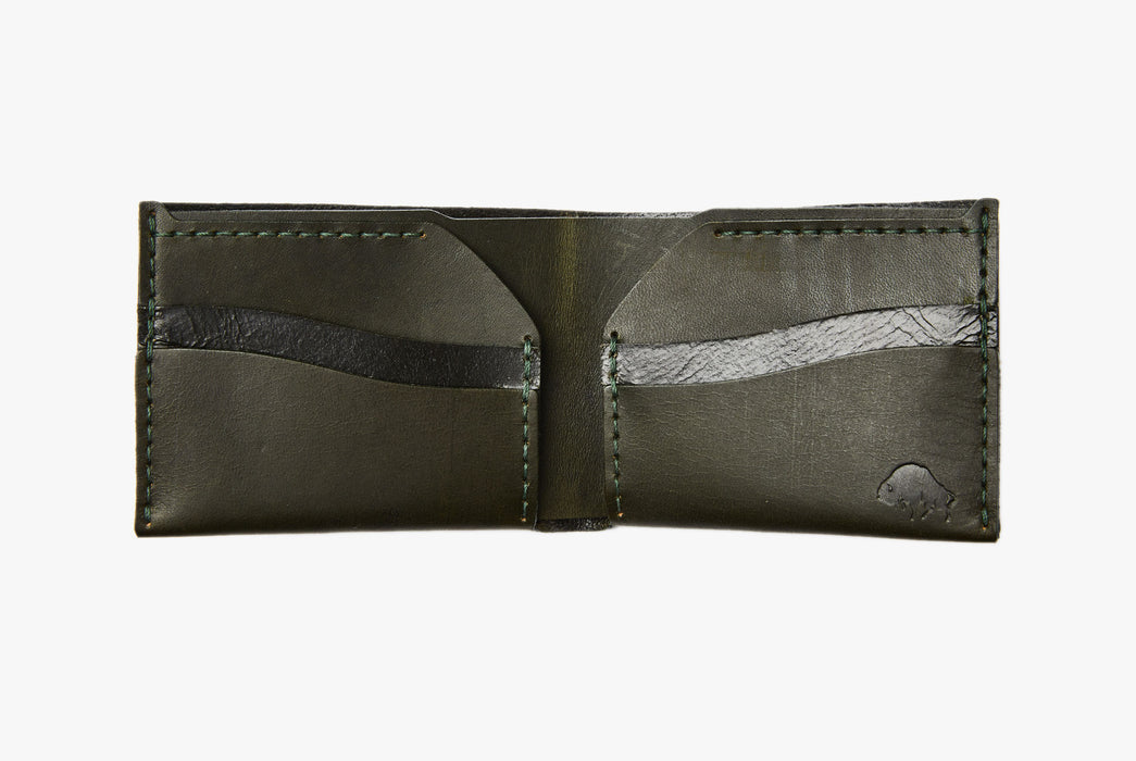 Green Bifold Wallet - Open