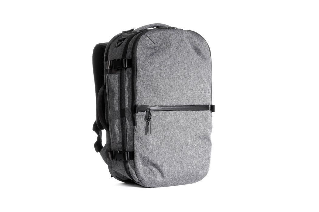 Gray Travel Pack Standing Up - Front View