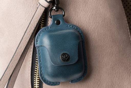 Blue - Twelve South AirSnap Case for AirPods - Clipped to bag