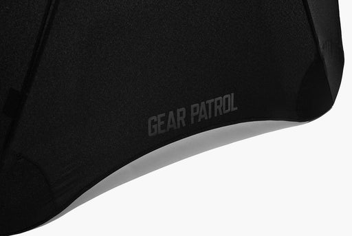 Black Umbrella Large - Umbrella Open - Gear Patrol Logo Detail