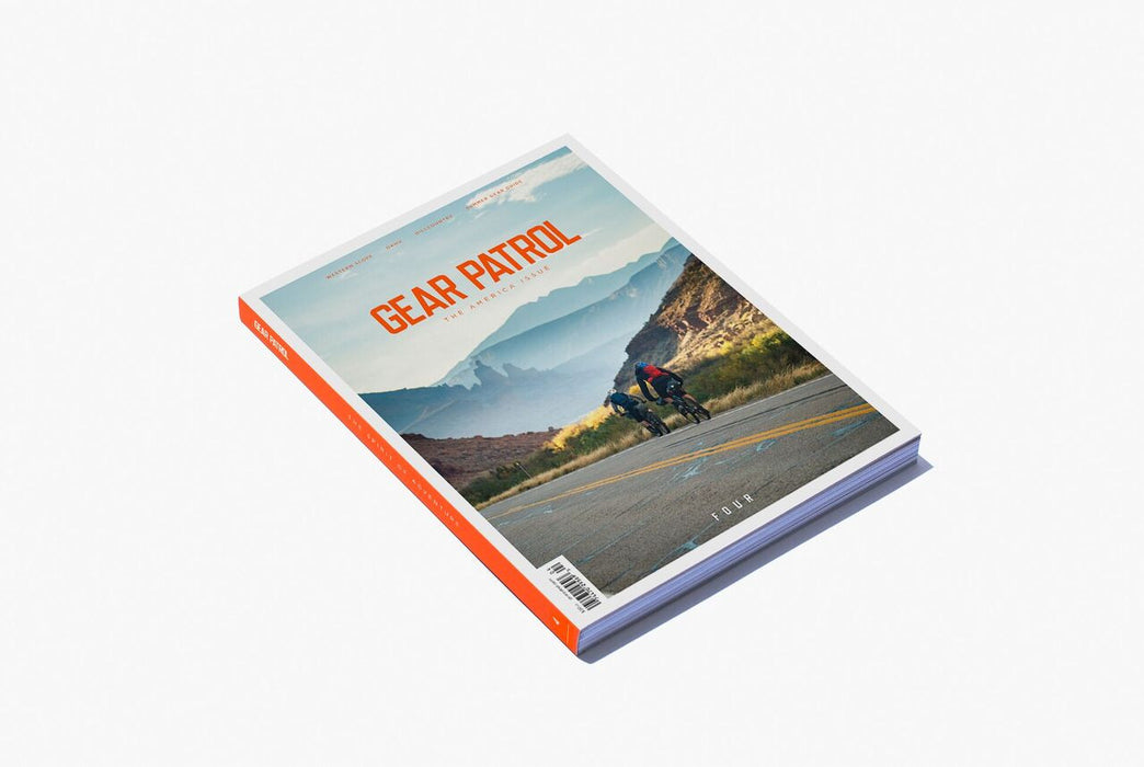 Gear Patrol Magazine: Issue Four - Alternate cover showing two cyclists riding on a road with the mountains in the background