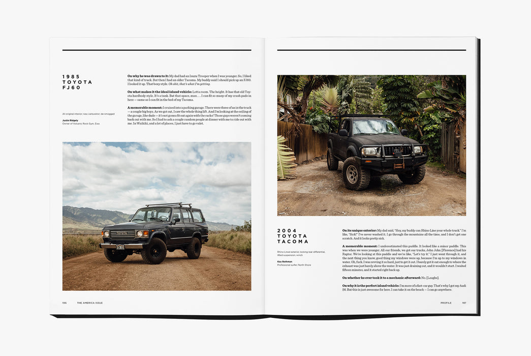 Gear Patrol Magazine: Issue Four - Open to spread showing two views of a Toyota truck, one in front of a long road and mountains, and the other in a tropical yard