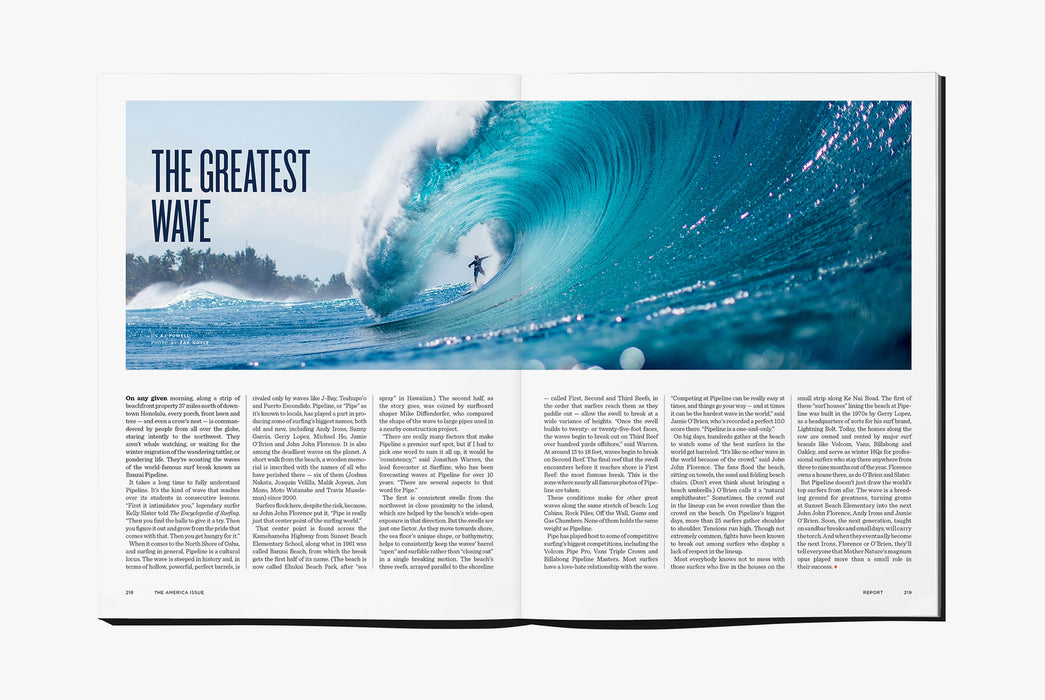 Gear Patrol Magazine: Issue Four - Open to spread showing a man surfing on a large wave