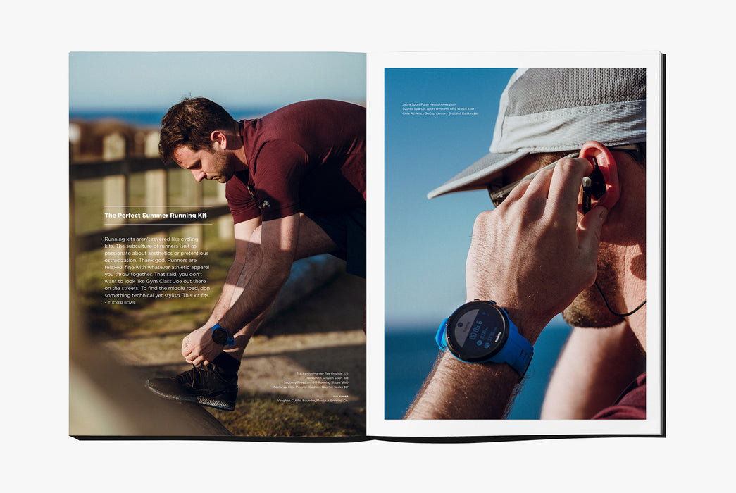 Gear Patrol Magazine: Issue Four - Open to spread showing runners getting ready for a summer run