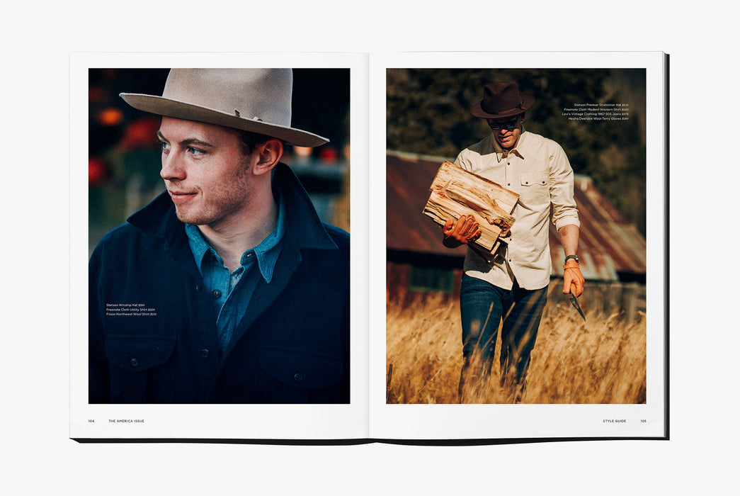 Gear Patrol Magazine: Issue Four - Open to spread showing a man with a hat and another man with a stack of firewood