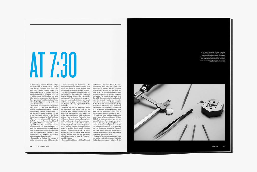 Gear Patrol Magazine: Issue Four - Open to spread showing a variety of metal tools on a table