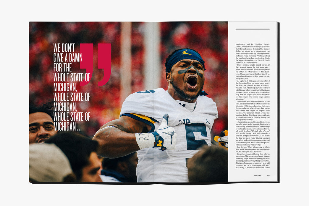 Gear Patrol Magazine: Issue Four - Open to spread showing a man in a football uniform shouting to someone