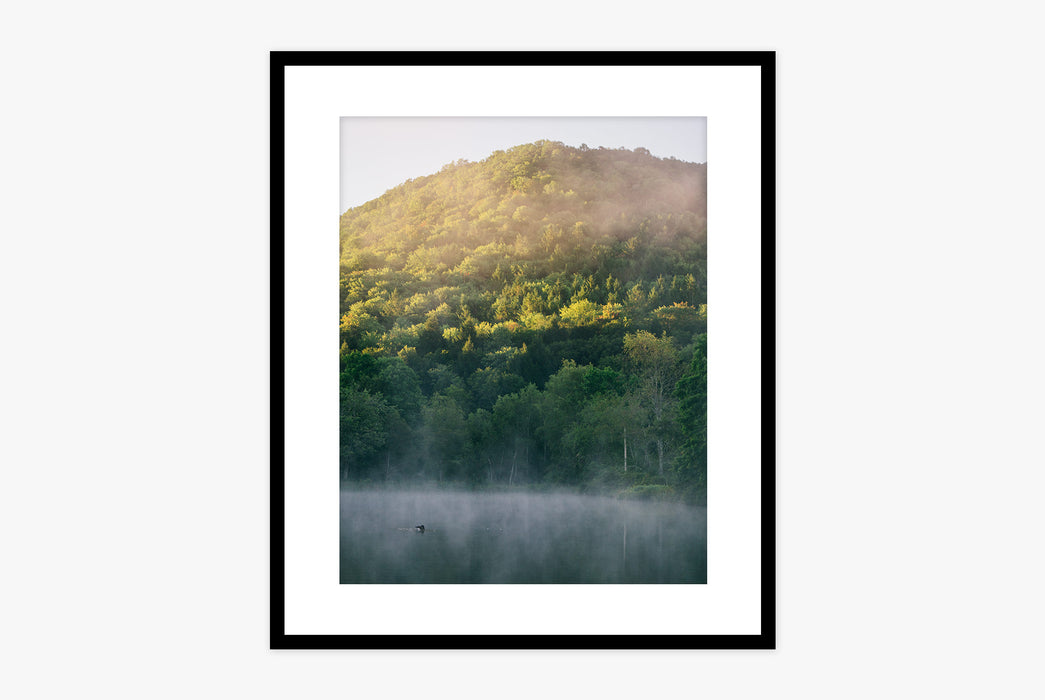 Hudson Valley Print - photo of mountain covered in trees with water and fog below, framed