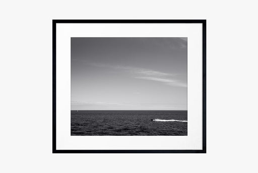 Morning in Monco Print - black and white photo of boat on water, framed