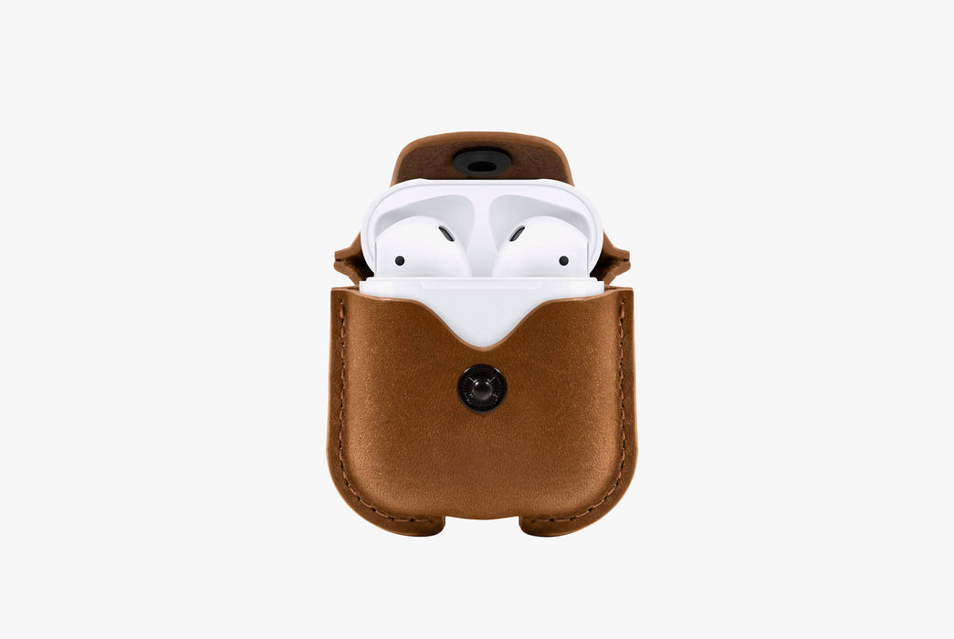 Cognac - Twelve South AirSnap Case for AirPods - AirPods in case