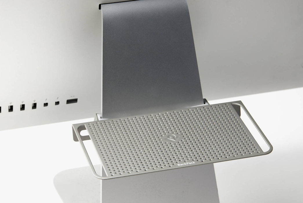 Silver - Twelve South BackPack Storage Shelf for iMac - On computer