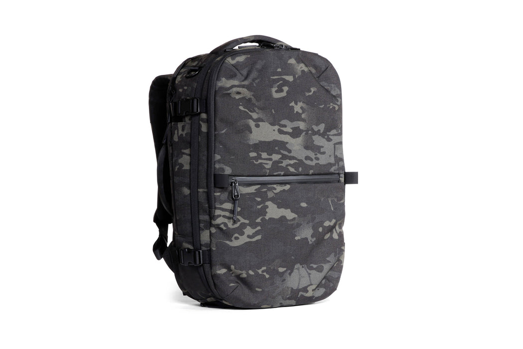 Camo Travel Pack Standing Up - Front View