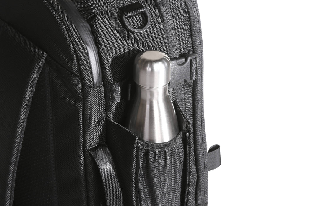 Black Travel Pack - Side View Water Bottle Holster