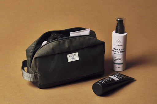 Green Toiletry Bag - Unzipped with Accessories