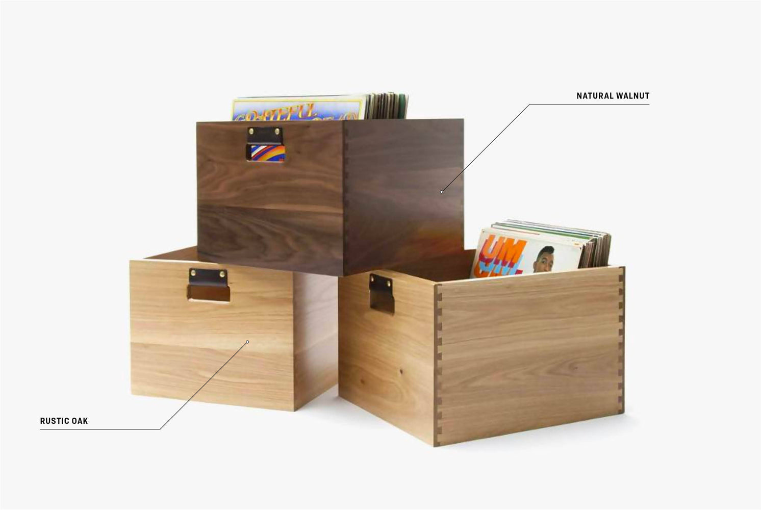 Symbol Audio Dovetail Record Crate - Both finishes stacked with records inside