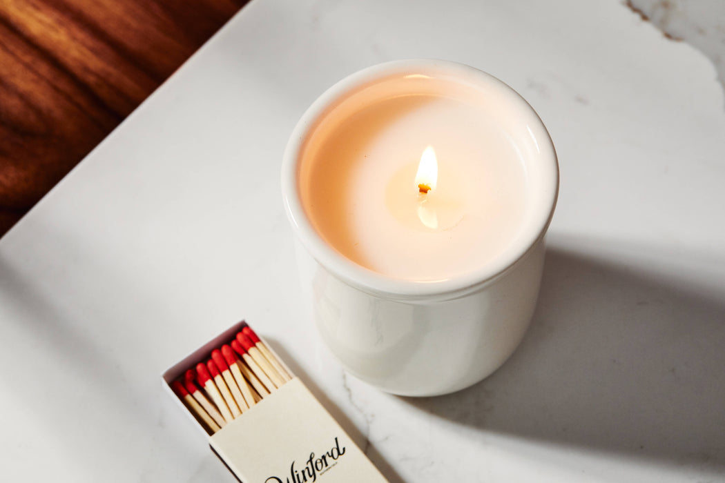 Apple Tobacco - Winford Candle - Lit with box of matches