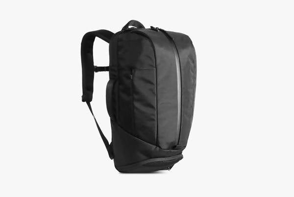 Black Duffel Pack Standing Up - Front View