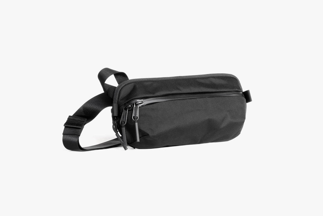 Black Sling Bag  Standing Up - Front View