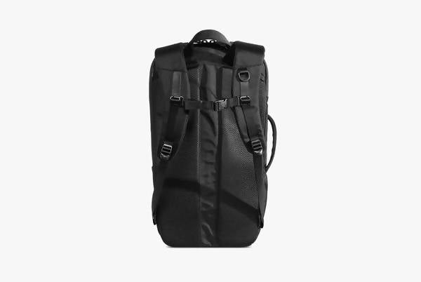Black Duffel Pack Standing Up - Back View