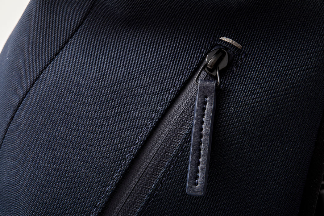 Navy - Troubadour Explorer Off Piste Rucksack - Close up of zipper