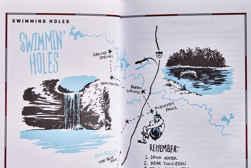 Austin - Wildsam Field Guides - Open pages with map of swimming holes