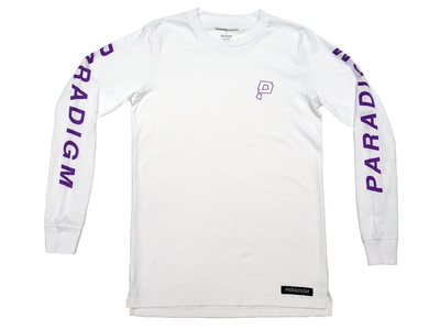 Smush White / Purple LS T-Shirt - Paradigm Apparel