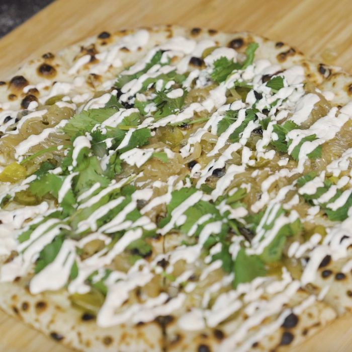 Pickled Jalapeño, Caramelised Onion & Garlic Cashew Cream Pizza