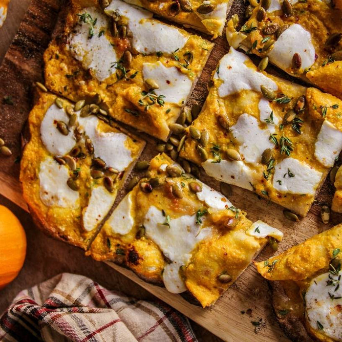 Protein-crust Pizza with Pumpkin, Thyme, and Ricotta