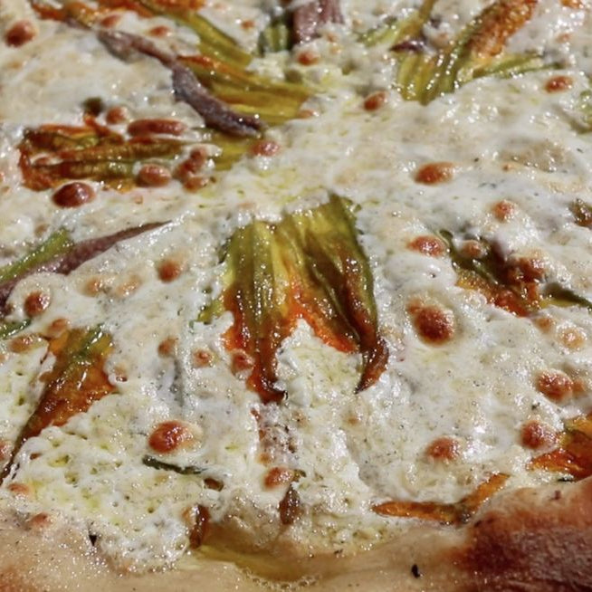 Ricotta, Sicilian Anchovy, and Zucchini Flower Pizza
