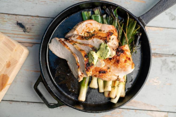 Roast Turkey & Baby Leeks with Herb Butter