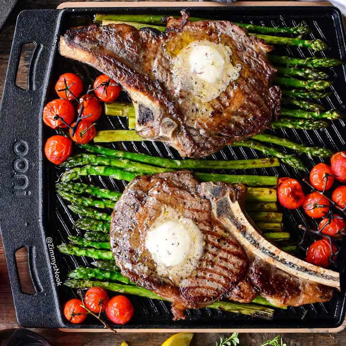 Ribeye steak with honey butter asparagus