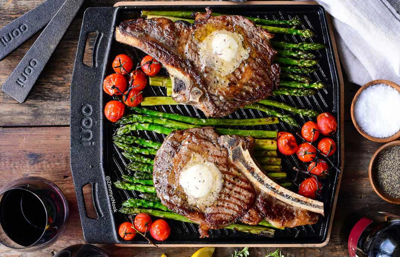 Umami Ribeye Steaks with Honey Butter Asparagus