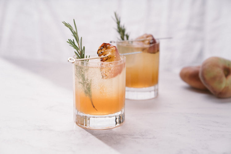 Smoky Peach and Rosemary Bourbon Spritz