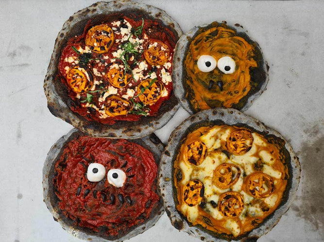 Halloween Pizzas with Charcoal Activated Dough