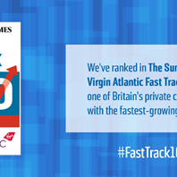We're in the Sunday Times Virgin Atlantic Fast Track 100!