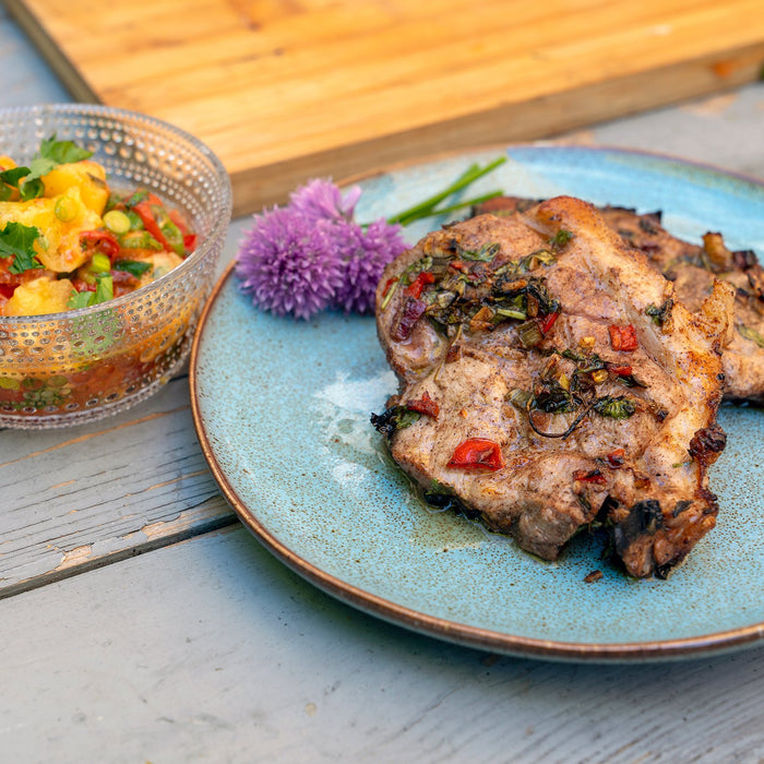 Jerk Pork with Roast Pineapple Salsa