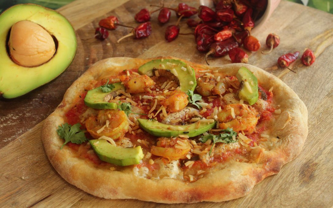 Avocado, Coconut & Goan-style Prawns Pizza Featured Image