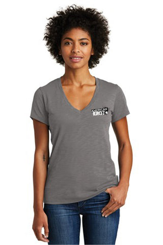 AMERICAN IDIOT 2021 Show Apparel - Women's Weathered Slub So-Low V-Neck Tee. AA6097
