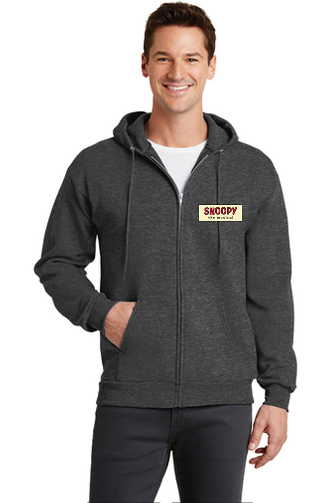 SNOOPY The Musical Show Apparel - Adult Full Zip-Up Sweatshirt - Dark Heather Grey - PC78ZH