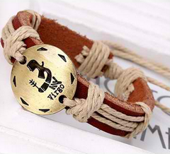 Zodiac Personalized Leather Bracelet Offer Value $34.90 Yours FREE!