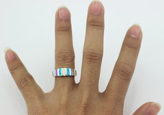 Blue & White Fire Opal Silver Ring / Offer Value $105 Yours  $14.95 Only!