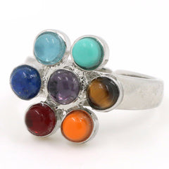 7 Chakra Stones  Ring Reiki Energy Healing Flower / Offer Value $39.90 Yours Only $1!