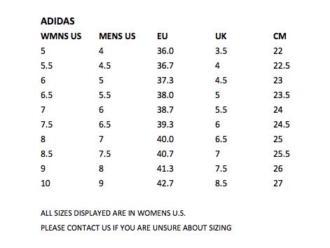 Adidas Womens Size Guide